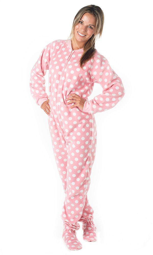 Footed Pajamas Pretty In Polka Adult Fleece