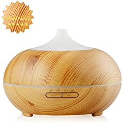 300ml Essential Oil Diffuser - InnoGear® Wood Grain Ultrasonic Cool Mist Aroma Humidifier with Timer Settings Color Changing LED lights Waterless Auto Shut Off for Home Office Baby