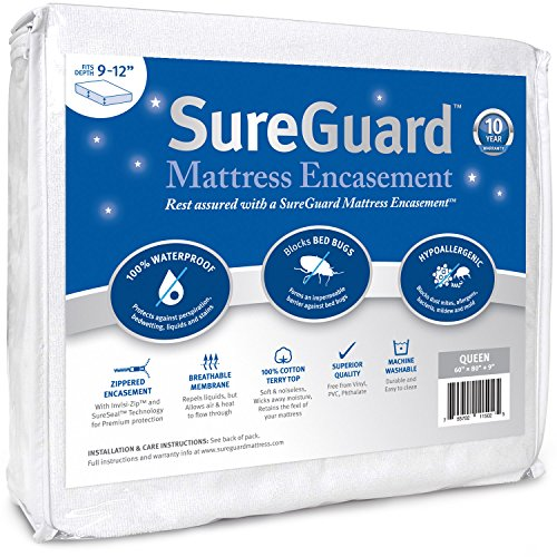 Queen (9-12 in. Deep) SureGuard Mattress Encasement - 100% Waterproof, Zippered - Six-Sided Premium Quality Cover - Blocks Bed Bugs, Dust Mites & Stains - 30 Day Return Guarantee, 10 Year Warranty