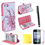 (TRAIT)8IN1 Pink Flower PU Leather Wallet Cases Protective Skin for iphone 5 for iphone 5s Flip Folio Case Stand Holder+touch Screen Pen +3* Screen Protector +3* Cleaning Cloth