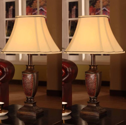 King's Brand L2601 Fabric Shade Table Lamps, Brushed Red Finish, Set of 2