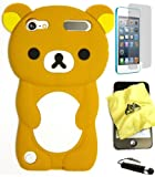 BUKIT CELL (TM) BROWN Bear 3D Cartoon Soft Silicone Skin Case Cover for IPOD TOUCH 5 5G 5TH GENERATION + BUKIT CELL Trademark Lint Cleaning Cloth + Screen Protector + WirelessGeeks247 METALLIC Touch Screen STYLUS PEN with Anti Dust Plug [bundle - 4 items: case, cloth, stylus pen and screen protector]