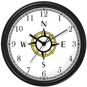 Navigational Compass Nautical Theme Wall Clock by WatchBuddy Timepieces (Slate Blue Frame)