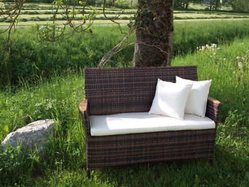 Exklusive 2-Sitzer Bank Classic Line maron mit Teakholz Armlehnen