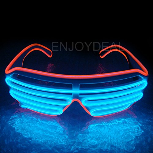 Enjoydeal El Wire Neon LED Light Up Shutter Shaped Glasses (Red Frame+Blue)
