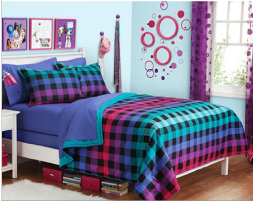 colorful rainbow plaid reversible teen girls full comforter set 8 piece bed in a bag lawrence c fiorilloder