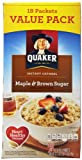 Quaker Instant Oatmeal, Maple Brown Sugar, 18-Count Boxes, 27.3 Ounce, (Pack of 4)