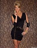 Tailliertes Langarm 3/4 Minikleid Dress mit Gürtel Gr 34 36 38
