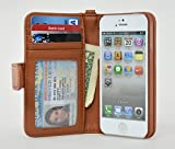 Navor iPhone Life Protective Deluxe Book Style Folio Wallet Leather Case for iPhone 5 & iPhone 5S ( Brown )