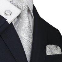 Landisun 21N ペイズリー メンズ シルク ネクタイ セット:ネクタイ+ハンカチ+カフス シルバー ホワイト, 148x8.25cm