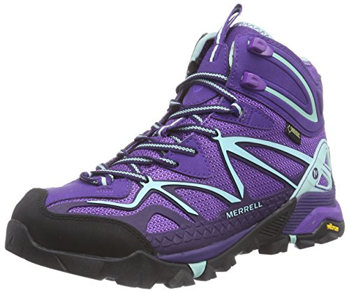 Merrell Women's Capra Mid Sport Gore-Tex Hiking Boot, Royal Lilac/Aventurine, 8.5 M US