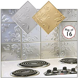 "Self Adhesive Decorative Copper Embossed Floral Design Tin Tiles - 6"" x 6"" (SET OF 16)"