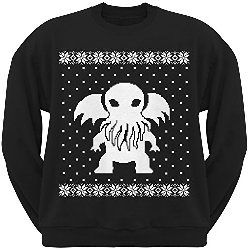 Cthulhu Ugly Lovecraft Christmas Sweater Black Adult Crew Neck Sweatshirt - Small