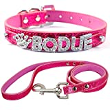 """Didog Pink Personalized Free Rhinestones Names Customized Soft PU Leather Dog Puppy Collars with Matching Leash 5/8""""*8-10"""""""