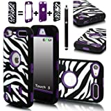 E-LV Deluxe Zebra Print Hard Soft High Impact Hybrid Armor Defender Case Combo for Apple iPod Touch 5 5th Generation with 1 Free Front and Back Screen Protector, 1 Black Stylus and E-LV Microfiber Sticker Digital Cleaner (Retail Packaging) (Purple)