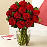 Valentine's Day - Rose Elegance Premium Long Stem Red Roses - 12 with Free Vase
