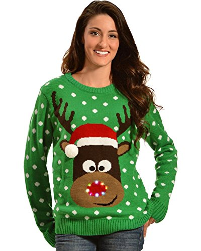 Lisa International Women's Reindeer With Santa Hat Light Up Christmas Sweater