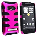 Fishbone Design Hybrid Hard/Gel Phone Cover Protector Case for HTC EVO 4G Sprint - Hot Pink/Black