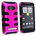 Fishbone Design Hybrid Hard/Gel Phone Cover Protector Case for HTC EVO 4G Sprint - Hot Pink/Black