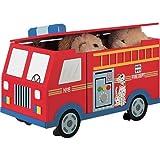 Teamson Kids - Trains & Trucks Fire Engine Toy Box