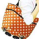 キャスター 付き 軽量 ドット 柄 ポータブル ショッピング バック 折りたたみ トート 軽い 便利 アイテム (オレンジ)