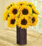 1-800-Flowers - Sunflower Bouquet - 10 Stems with Brown Bamboo Vase