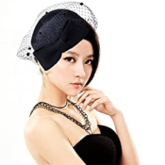 Lady Womens Dress Fascinator Wool Felt Pillbox Hat Party Wedding Bow Veil A082 (Black)
