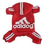 Scheppend Adidog Pet Clothes for Dog Cat Puppy Hoodies Coat Winter Sweatshirt Warm Sweater,Red Large
