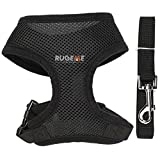 Rugeme Soft Mesh Non Pulling Puppy Harness with Leash Set (Halloween Sale) (Medium Black)