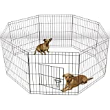 Oxgord Dog Animal Playpen Large Metal Wire Folding Exercise Yard Fence 8 Panel Popup Kennel Crate Fence Tent Portable - Black - Premium Quality - 2015 Newly Designed, 36 Inches