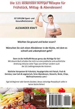 Buchdeckel von REZEPTE HEISSLUFTFRITTEUSE: 121 Airfryer Rezepte für Frühstück, Mittag & Abend. Inklusive Heißluftfritteuse Tipps für Einsteiger!