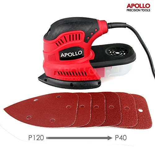 517GlT7K7GL - BEST BUY #1 Apollo 180W Palm Detail Mouse Sander Power Tool With Dust Collector & 6 Piece Mixed Velcro Backed Sand Paper Kit