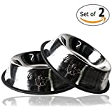 Gpet Dog Bowl 32 Ounce Stainless Steel Long Durability with Rubber Base That Bowls Wont Slip, Pet Can Use for Water and for Food Made with Love to Your Puppy, Beautiful Dish with Paw Design (Set of 2)