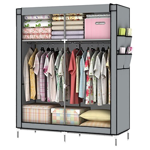 Mow-Wow Christmas Gift DIY Assambled Portable Clothes Closet Wardrobe Fabric Clothes Storage Organizer Gray
