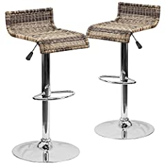 Flash Furniture 2-DS-712-GG Contemporary Wicker Adjustable Height Barstool with Chrome Base (2 Pack)