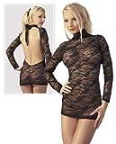 Rückenfreies Gothic Spitzen Mini-Kleid schwarz