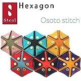 Steal(スティール)HEXAGON ヘキサゴン コインケース 本革 小銭入れ 小物入れ 大外ステッチ (Pink×D.green)