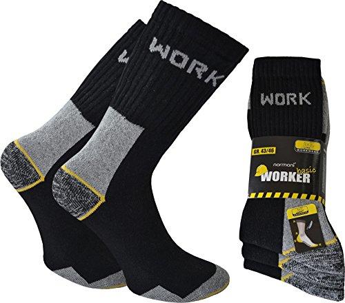 6 oder 12 Paar Herren Arbeits und Freizeitsocken mit Innenfrottee Funktionssocken, atmungsaktiv, belastbare Work Socken