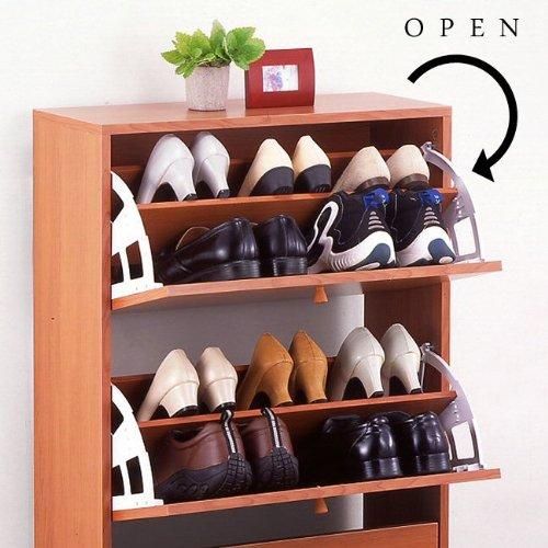 生活雑貨インテリア通販/回転シューズボックス 3段 スリムサイズ 靴箱 くつ箱 下駄箱 インテリア 収納家具 靴収納 (ライトブラウン)