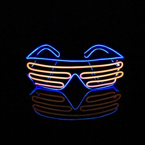Aquat Light-up Illuminated Neon Electroluminescent EL Wire LED Glasses Light Shutter Frame Costumes Glasses Eyeglasses RB03