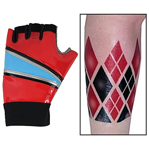 Greed Land Harley Quinn Cosplay Gloves Suicide Squad Biker PU Gloves with Arm Tattoo (Size-1)
