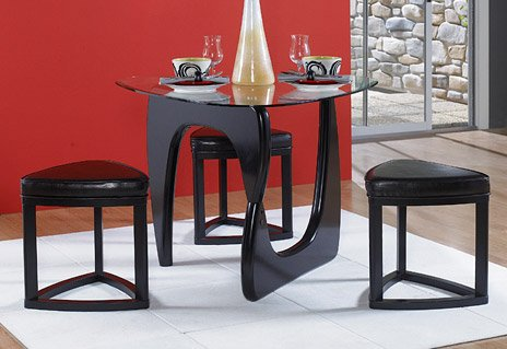 4 Piece Dining Set In Triangle Glass Top Of Chorus Collection By Homelegance Dining Table Set