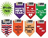 7 PACK BANDANAS -Holiday Pack, One Size Fits Most for Medium to Large Dogs