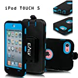 E-LV Full Protection Armor Defender Series Case shell with belt clip holster for iPod Touch 5 5th Generation (Blue, Ipod Touch 5)
