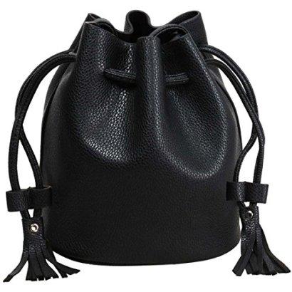 BMC-Womens-Textured-Faux-Leather-Drawstring-Style-Cinch-Sack-Mini-Handbag