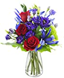 Mother's Day Special Leading Lady Roses and Iris - With Vase
