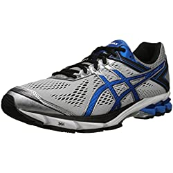 ASICS Men's GT 1000 4 Running Shoe, Silver/Electric Blue/Black, 14 4E US