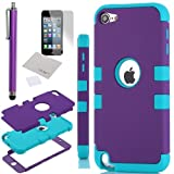 Pandamimi ULAK(TM) Hybrid 3 Layer Silicone Case with Hard Shell Inside Case for Apple iPod Touch Generation 5 + Stylus + Screen Protector