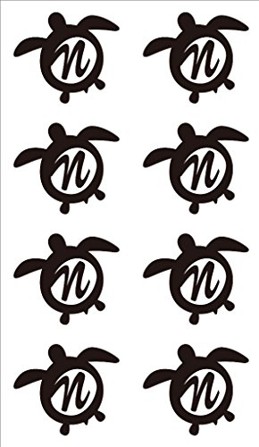 nc-smile イニシャル ハワイアン ホヌ 英字 アルファベット デコレーション シール ステッカー N ブラック