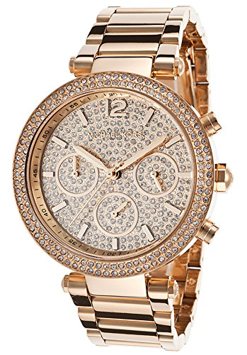 michael kors parker rose gold stainless steel glitz dial women,s chronograph watch mk5857,video review,(VIDEO Review) Michael Kors Parker Rose Gold Stainless Steel Glitz Dial Women's Chronograph Watch MK5857,